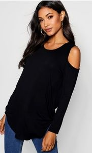 Cold Shoulder Long Sleeve Thermal Top